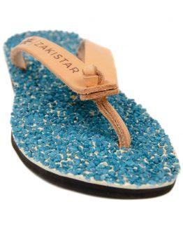 Blue Leather flip flops that massage