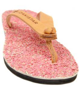 pink Leather flip flops that massage