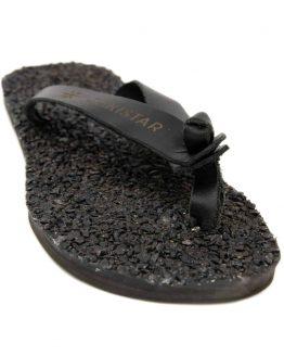 Black Leather flip flops that massage