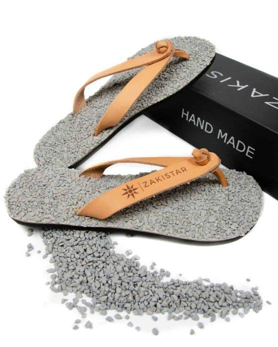 Leather flip flops that massage