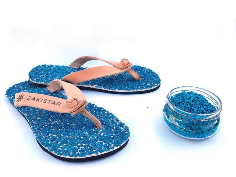 leather blue flip flops