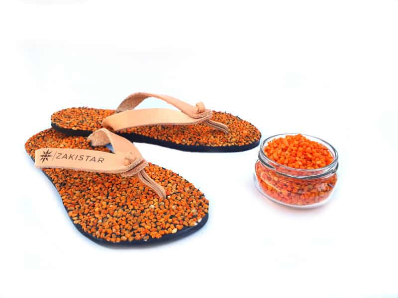 orange natural massaging flip flops